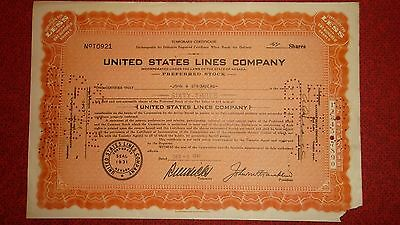 United States Lines Stock Certificate  -  One day after Pearl Harbor