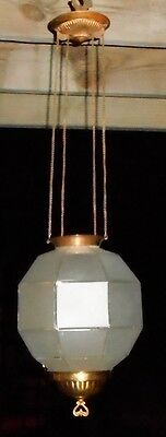 Ca.1890s Pittsburgh Satin Glass Octagon Shade Hanging Hall Pulley Oil Lamp Light