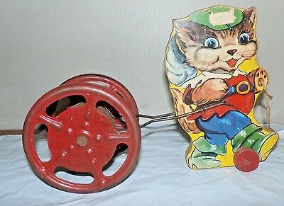 Vintage Gong Bell Mfg Co Puss in Boots Or Similar Pull Toy 1938