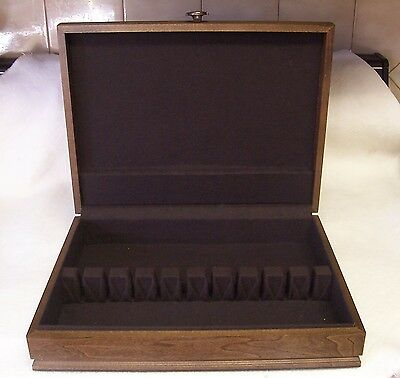 Wooden Silver Storage Chest Service For 8 Felt Lined