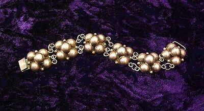 Gorgeous Vintage Taxco Mexico Sterling Silver Floral Ball 6 Panel Bracelet