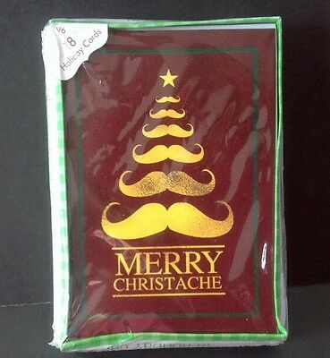 18 Christmas Cards Merry CHRISTACHE Mustache Holiday Humor Beatnik NEW NIP
