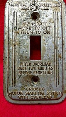 Vintage Metal General Electric GE Switch Plate Cover Motor CR1061-C2A Made USA