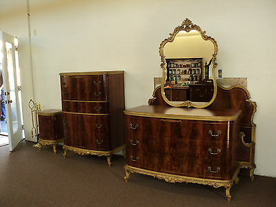 French Provincial 5 Piece Bedroom Set, 1940's