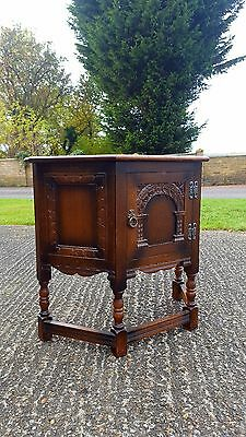 Carved Oak Old Charm Canted Telephone Table Hall Cabinet