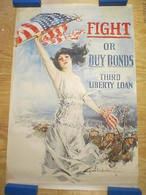 Antique Original WWI *Fight or Buy Bonds* Christy Third Liberty Loan Poster
