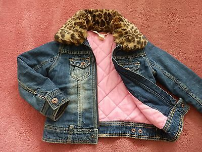 Girls H&M Winter Padded Denim Jacket with Removable Fur Collar Age 5-6 years VGC