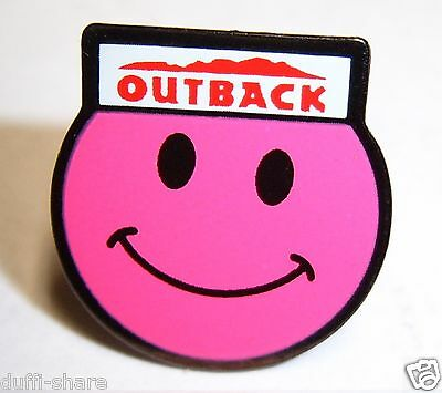 Outback Steakhouse Lapel Pin Hat Pin Outback Smiley Face Pink