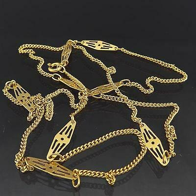 Longer Dressy Curb & Fancy Lozenge Link 18ct Solid Yellow GOLD CHAIN / NECKLACE