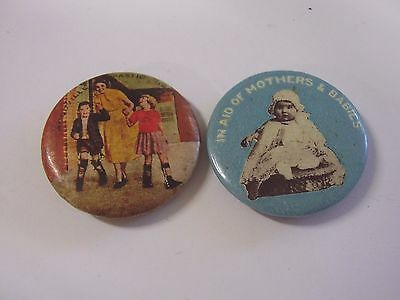 2 Vintage Appeal Day Button Badges Aid Of Mothers & Babies, Woodville Spastic Ct