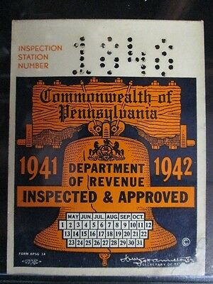 Antique 1941 1942 Pennsylvania Inspection Sticker Auto WWII Ford Chevy Plymouth