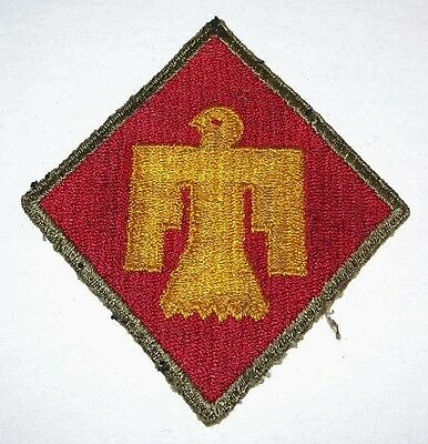 """""""SALTY"""" ORIGINAL GREENBACK WW2 45th INFANTRY DIVISION OD BORDER PATCH!"""