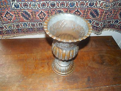Vintage Middle Eastern Islamic Hand Hammered Tinned Copper Pot,tall Vase