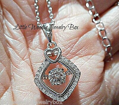 "Sterling Silver Floating DANCING Rhythm ""Motion"" Diamond cut Pendant Necklace"