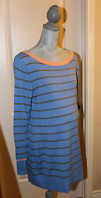 NWT GAP Maternity Striped Blue & Gray Sweater Tunic Top Size Large