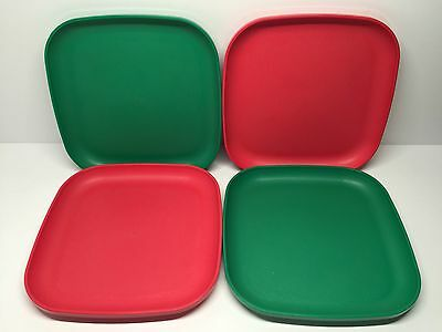 """Tupperware Square Luncheon Plates Green and Guava Melon 8"""" New Set of 4"""