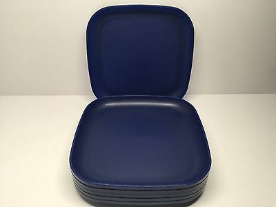 """Tupperware Square Luncheon Plates Navy Blue 8"""" New Set of 6"""