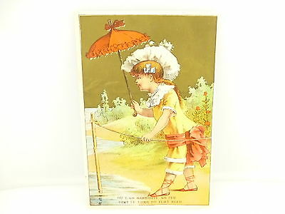 Vintage Victorian Soapine Girl with Umbrella Trading Card Kendall Mfg Providence
