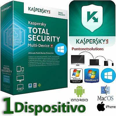 Kaspersky Total Security Multidevice 2017 1 Dispositivo /PC/ MAC/Android 1 ANNO