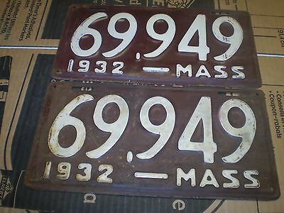 1932 Massachusetts License Plates Pair # 69949 Patina Hot Rods 32 Fords