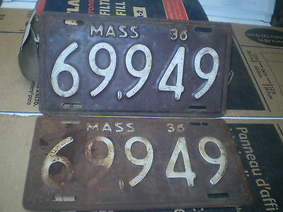 1936 Massachusetts License Plates Pair # 69949 Patina Hot Rods