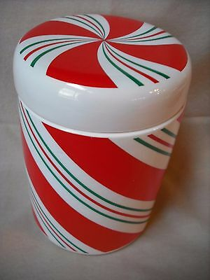 Teleflora Ceramic Candy Cane Christmas Holiday Canister Cookie Jar