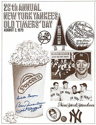 NY Yankees 1975 Old Timers Program Signed By Phil Rizzuto,Clete Boyer,Richardson
