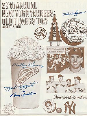 Bauer Rizzuto Rivers Richardson Ny Yankees Signed 1975 Old Timer's Day Program