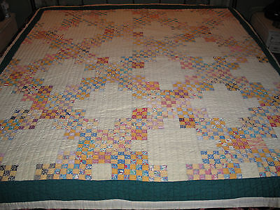 Early 1900s Antique Hand Pieced~Quilted Quilt 9 Patch POSTAGE STAMP Irish Chain~