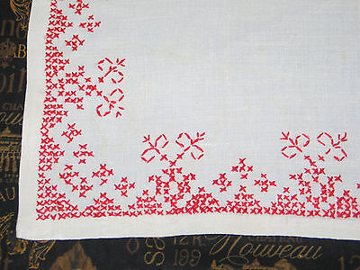 Antique VTG 13 piece set H Embroidery Linen Napkins~Placemats~Runner Red White