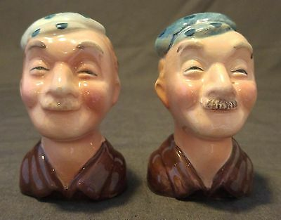 Vintage Salt and Pepper Shakers Two Faces with Mustache and Hat Made In Japan