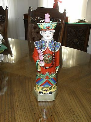 Vintage Emperor of Chinese Qing Dynasty Porcelain Statue Figurine