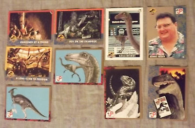 Jurassic Park Topps Trading Cards Lot of 9 Original Movie Cards Listed [MJ D3]
