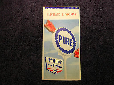 Pure Oil Cleveland OH Road Map 1963