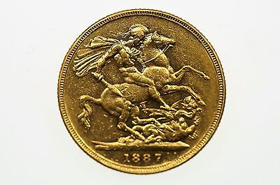 1887 Melbourne Mint Gold Full Sovereign in Very Fine Condition