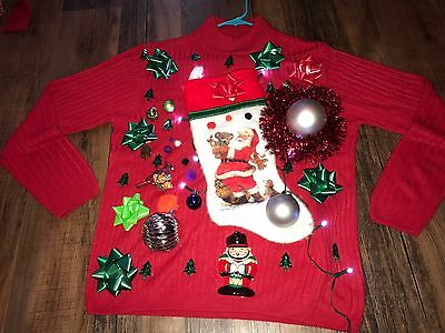 Ugly Christmas Sweater Holiday Party  Small Medium  Decorated 3D Light Up Winner