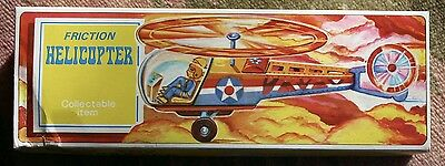 """Vintage TIN Friction Helicopter MF334 New in Box 9"""" Tin Litho"""