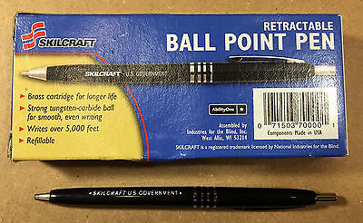 12 Pack Skilcraft Retractable Ball Point Pens Black Ink Fine Point US Government