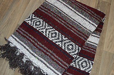Mexican Blanket Handwoven Falsa in Cranberry Yoga Serape Rug Beach Blanket