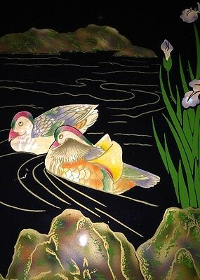 MOTHER OF PEARL ABALONE? Ducks Flowers ASIAN ART FRAMED PICTURE  Beautiful!!