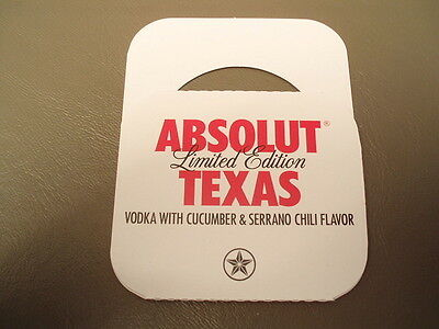 One Absolut Vodka Texas 750 ml bottle tag, HARD TO FIND!!