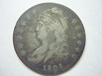 1808 Silver Us Capped Bust Half Dollar Coin Fine Condition