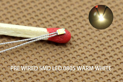 T0805WM 20pcs Pre-soldered micro litz wired leads Warm White SMD Led 0805 NEW