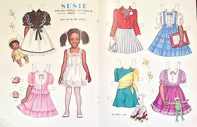 Vintage Pat Stall SUSIE & her Clothes & Toys from 1983 Paper Doll Uncut,1983