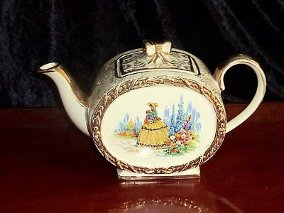 Collectable Antique Barrel Shape Crinoline Lady  Teapot Sandler's C 1950's