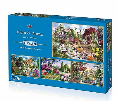 Gibsons Flora & Fauna Jigsaw Puzzles (4 by 500-Pieces)