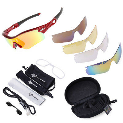 ROCKBROS Pro Polarized Cycling Glasses Bike Sports Sunglasses 5 Lens Goggles CS8
