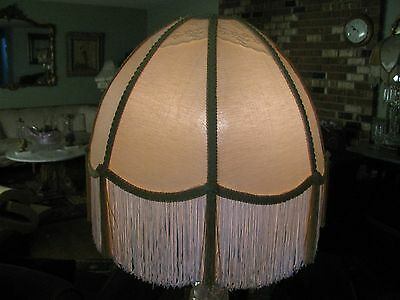 """Victorian French  Large Floor Table Lamp Shade """"Butter Cream""""  Tassels  Fringe"""