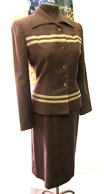 Vintage 1950s GLAM Fitted Femme Striped Jacket n Skirt Suit!