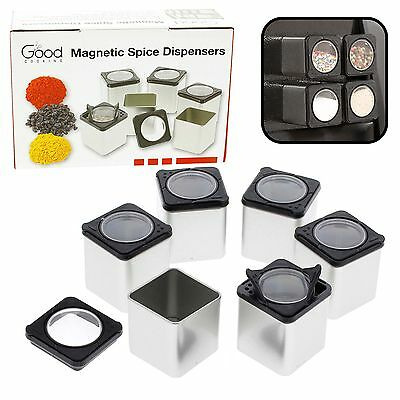 Magnetic Spice Tins- Shake or Pour Containers Attach to Most Refrigerator Doo...